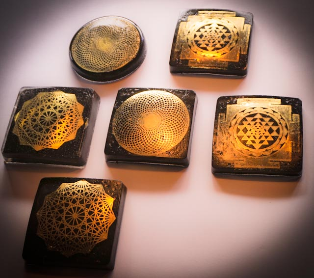 Small 18karat Gold Sacred Geometry Charging COASTER(CHOOSE ONE)