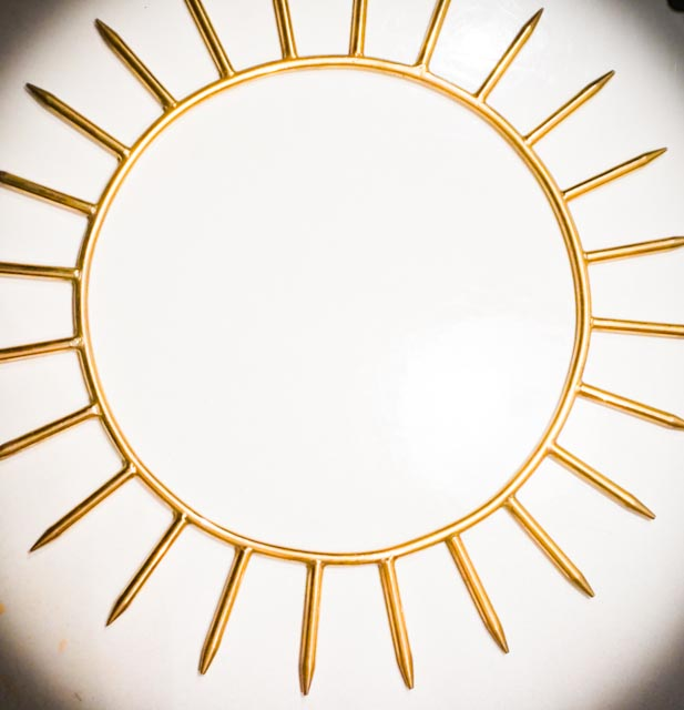 NEW: 9inch Krystaline Gold Sun Ring: MED